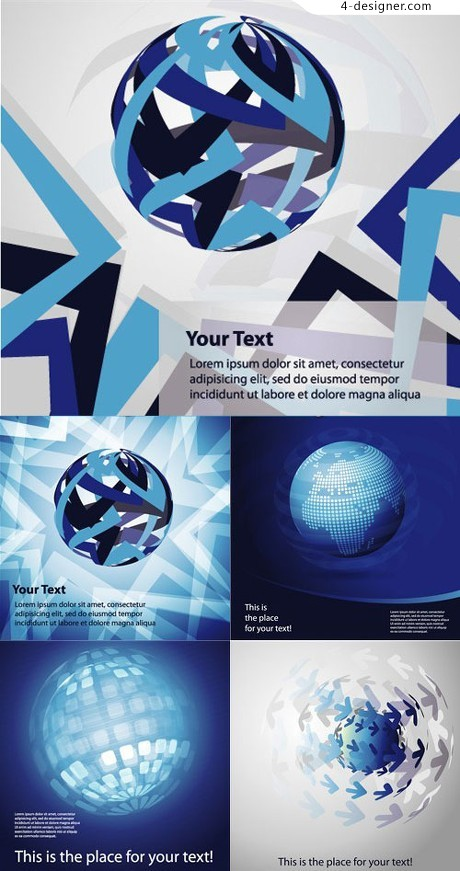 Earth theme blue background vector material