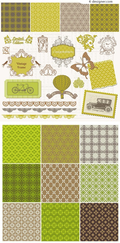 European decorative pattern pattern vector material