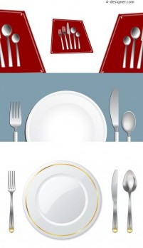 Exquisite tableware vector material