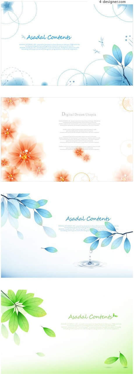 Fantasy flowers leaves background vector material