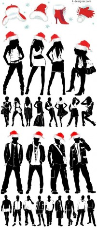 Fashion silhouette figures vector material