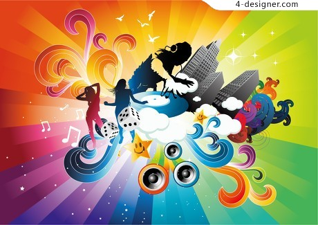 Fashionable musical elements footage vector material