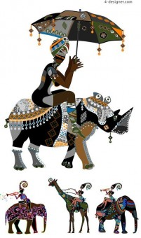 Gorgeous African figure illustrations vector material