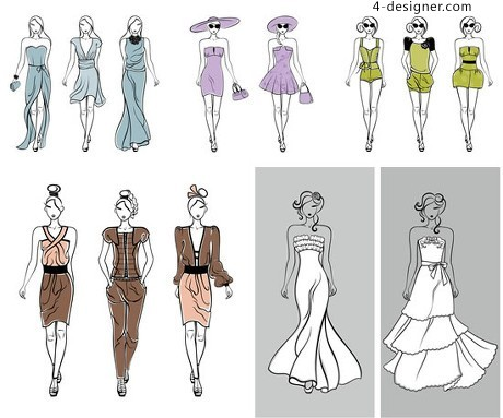 Hand painted artwork mannequin vector material