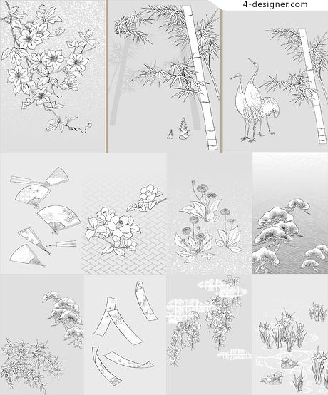 Japanese flowers pattern vector material