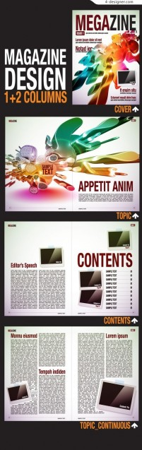 Magazine design vector material