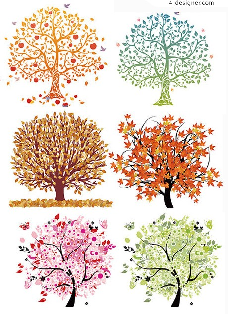 Multicolor trees theme vector material
