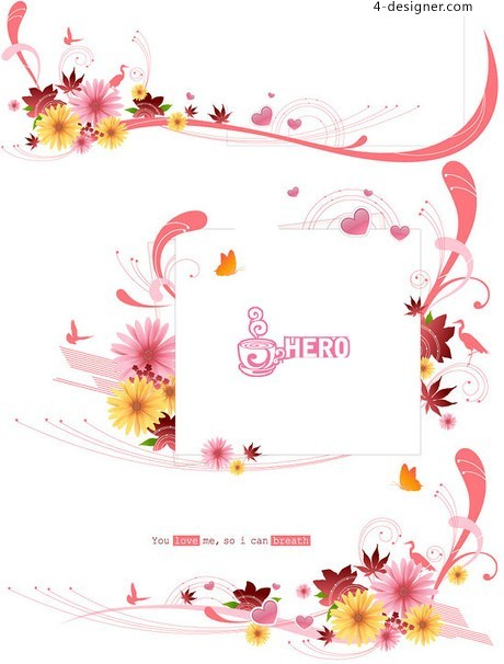 Pink lovely type vector material