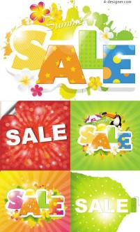 Refreshing summer sale design vector material