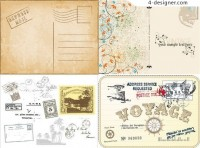Retro theme vector material Mail