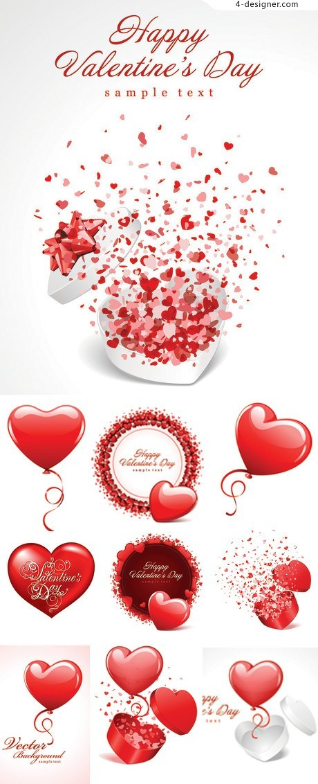 Romantic Valentine s Day hearts vector material