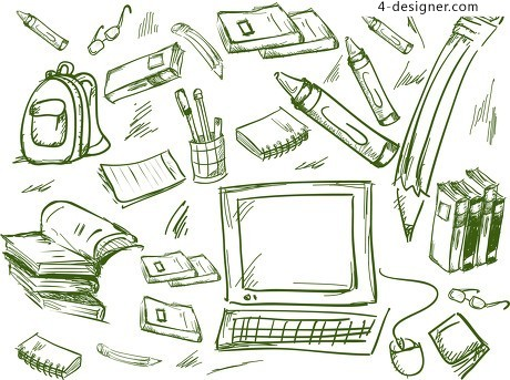School office supplies sketch style vector material