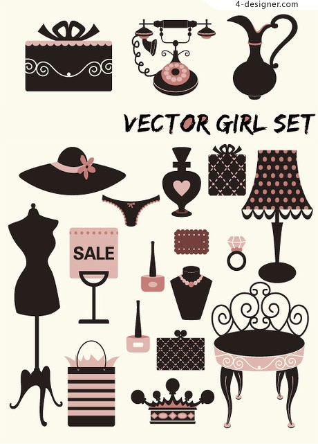 Simple and lovely fashion illustrations vector material