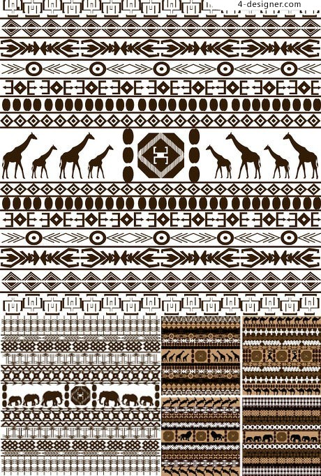 South Africa style pattern background vector material