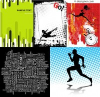 Sports poster design element vector material