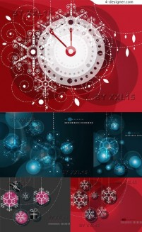 Stars snowflake background vector material