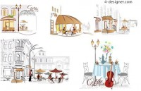 Street cafe vector material