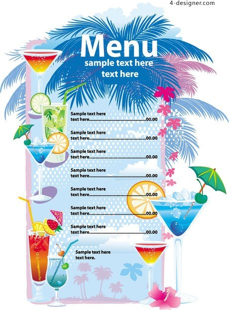 Summer drinks menu vector material