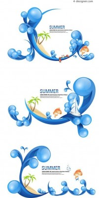 Summer spray decorative vector material
