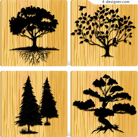 The wood of trees silhouette vector material