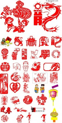 Traditional Chinese New Year element vector material 2