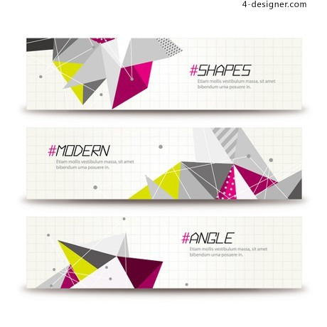 Triangle abstract decorative banner vector material