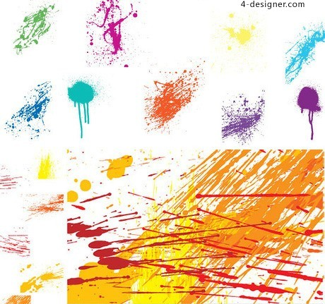 Variety of color splash paint ink vector material