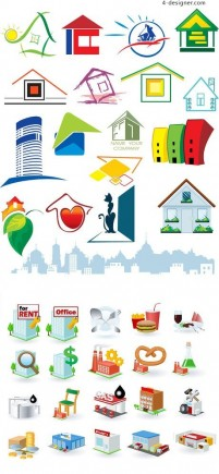 Variety of house design element vector material