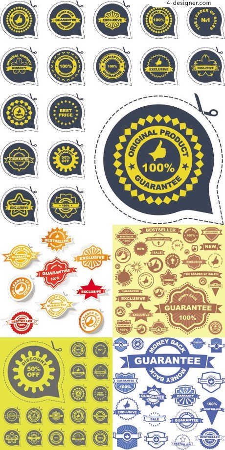 Variety of various product label vector material