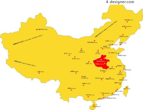 Yellow Chinese map vector material