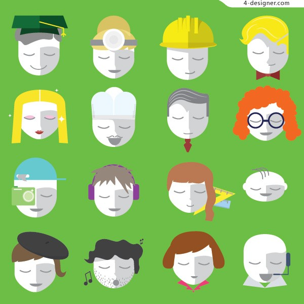 16 models of vector characters