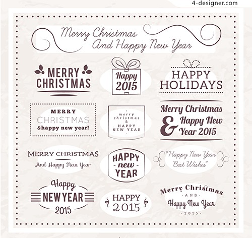2015 New Year Christmas vintage label text
