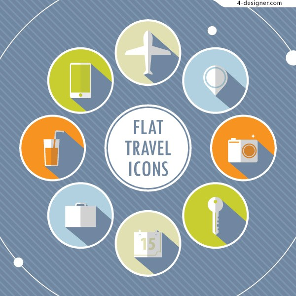 8 travel related flattening icon