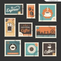 9 retro coffee related stamps