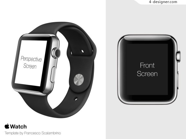 Apple Watch Template PSD contains seven kinds of strap