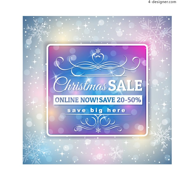 Christmas discounts fantasy theme background vector material