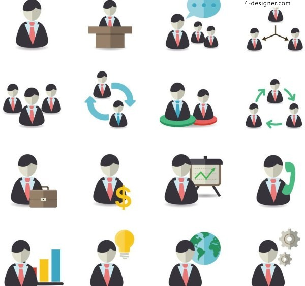 Creative personality flat concise business men office figures PPT icon material