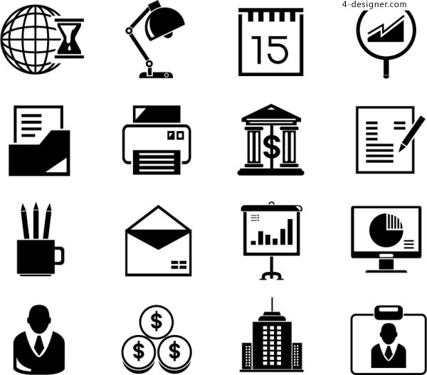 Creative personality simple flat business financial office ppt icon material commonly used in solid colors two