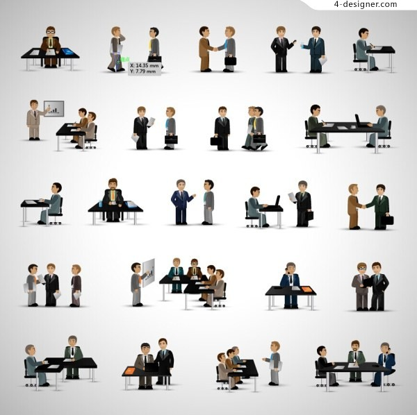 Creative personality simple flat figures Commerce office scene ppt icon material five