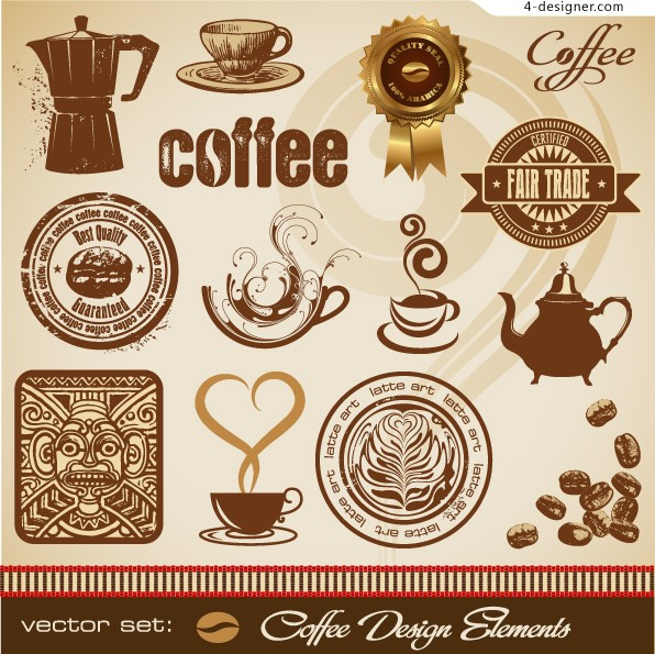 Elegant style coffee theme vector material