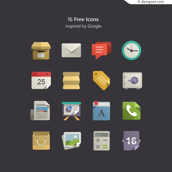 Google phone APP square flat colored objects and creative icon design material collection 1