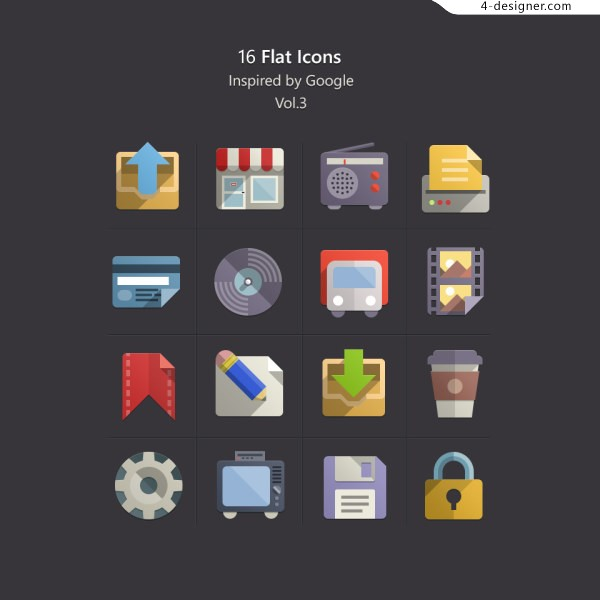 Google phone APP square flat colored objects and creative icon design material collection 3