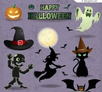 Halloween creative design elements vector material