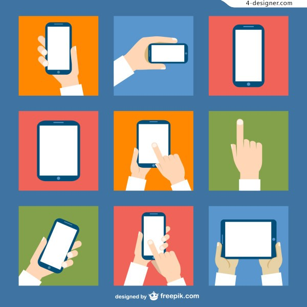 Hand and mobile phone flat vector material