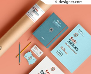 High quality business cards VI template notebook paper and pencil pen display