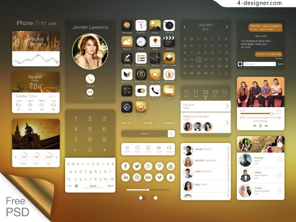 Ios7 on iPhone gold ui kit