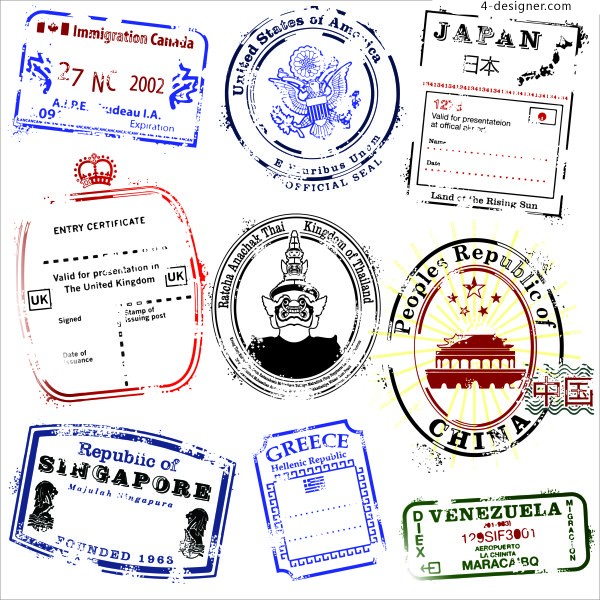 Nine different countries postmark material