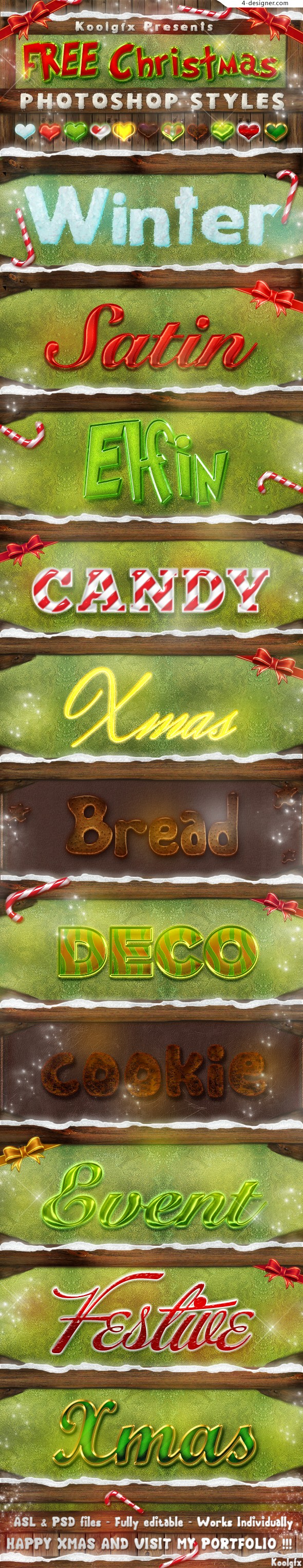 PS 11 kinds of Christmas style text style