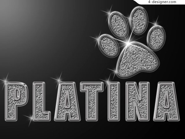 PS cool platinum metal font styles