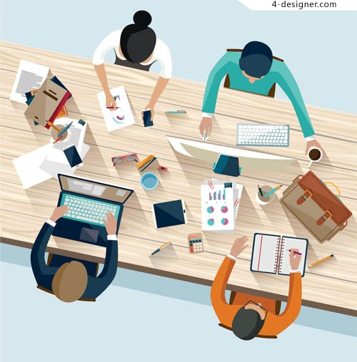 People and office space element vector material